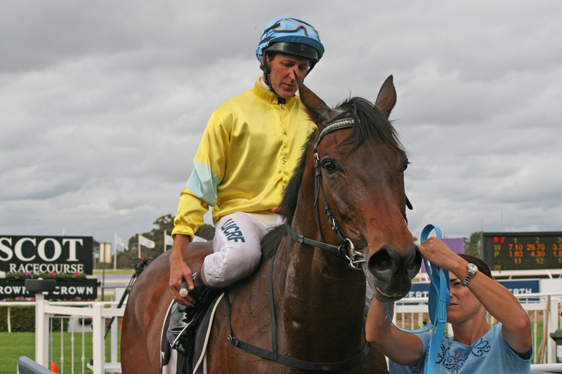 Hall of Fame jockey Paul Harvey and the Dan Morton-trained Man Booker after winning the Northerly Stakes (1400m) at Ascot. Picture: Anita McInnes